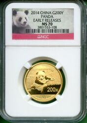 Panda Gold  2014  1/2 Oz  Ngc Ms 70 Early Releases China