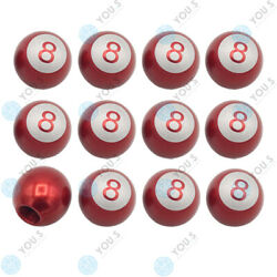 16 Piece You.s Valve Caps Billiard Ball 8 Red For Car Truck Motorcycle Bike