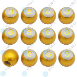 16 Piece You.s Valve Caps Billiard Ball 8 Gold For Car Truck Motorcycle Bike
