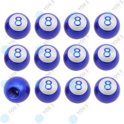 16 Piece You.s Valve Caps Billiard Ball 8 Blue For Car Truck Motorcycle Bike