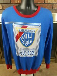 Vintage Heilemans Old Style Cold Beer Sweater Mens Size Large Blue Red