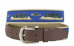 Hopkins Islands Leather Tab Belt- The Belted Cow Co 40 Fits 38andrdquo-42andrdquo Usa Made