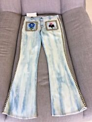 AUTHENTIC Gucci Studded Embroidered Mid-Rise Flared  Jeans - Size 24  NWT $550.00