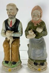 Vintage Figurines Man And Woman Sitting With Cat. Approximately 10quot;Tall China