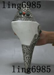 Tibet Silver Shell Inlay Turquoise Coral Pattern Statue Conch Horn Trumpet Bugle