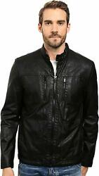 Kenneth Cole New York Men's Distressed Leather Jacket W Faux Sherpa Lining
