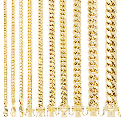 14k Yellow Gold Real 3mm-14.5mm Miami Cuban Link Chain Pendant Necklace, 16-30