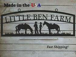 Large Farm Entrance/gate Sign Cowboys And Horses Personalized S1316