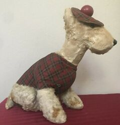 ANTIQUE Sitting Terrier Dog Mohair Plush Stuffed Toy Plaid Scottish Cloth Outfit