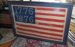 US Centennial Flag 1776 1876 Flag Matted and Framed Vintage American Flag