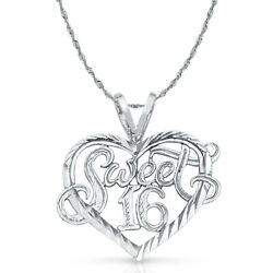 14k White Gold Sweet 16 Years Heart Charm Pendant With 2mm Rope Chain Necklace