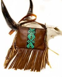 Raviani Cross-body Fringe Bag In Brandy Color Cowhide Leather W/ Navajo Accent