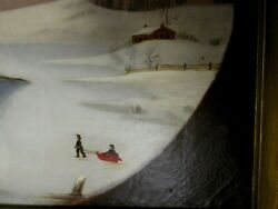 Wonderful Antique Naive Oil Painting Circa Mid-1800and039s Upstate Ny Estate Find