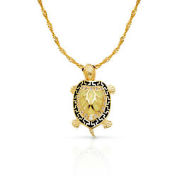 14k Yellow Gold Turtle Charm Pendant With 1.8mm Singapore Chain Necklace