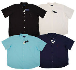 Polo Big Tall Men Feather Weight Dress Shirts Black White Blue Pony