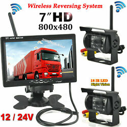 12-24v Wireless 7 Lcd Monitor Dual Backup Camera System For Rv Truck Trailer