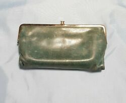Hobo Lauren Clutch Wallet Green Leather Double Frame Kiss Lock Closure $37.50