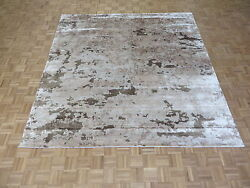 9 X 9and0393 Square Hand Knotted Brown And Beige Modern Abstract Oriental Rug G4305