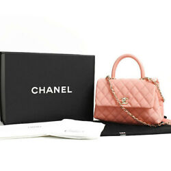 CHANEL Matelasse Top Handle Flap Bag Pink Chain Shoulder Caviar A92990 Auth New