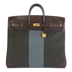 HERMÈS EBENE BARENIA LEATHER & GREEN BLUE GALON TOILE H FLAG BIRKIN 50CM...