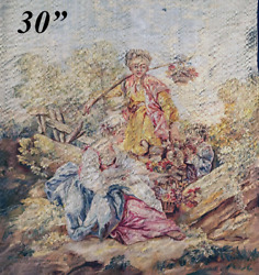 Rare Superb Antique French Aubusson Silk Tapestry Panel 30x24.5 Apres Boucher