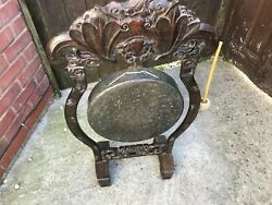 Chinese Antique Bronze Dinner Gong On Carved Hard Wood Stand