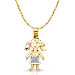 14k 2 Tone Gold Toddler Girl Charm Pendant And1.2mm Flat Open Wheat Chain Necklace