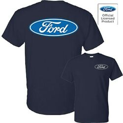 Ford Licensed Logo Blue Oval Classic Front & Back Design Tee T-Shirt New