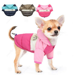 Waterproof Dog Winter Clothes for Small Medium Dogs Pet Jacket Hoodie Coat Pink $9.99