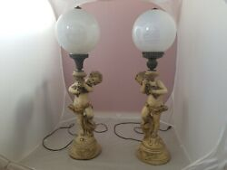 Vintage Cherub Cupid Angels Electric Lamps Boy And Girl With Glass Globe