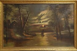 Antique American School Landscape Oil On Canvas With Gold Leaf Wood Frame