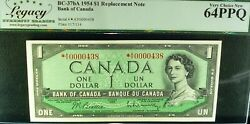 Asterisk Replacement 438 Low 1954 1bank Of Canada Unc. Charlton Bc-37ba