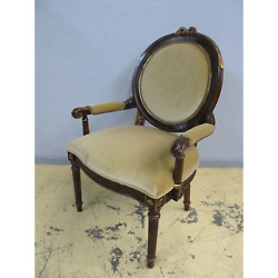 Henredon Arabesque Round Back Carved Upholstered Dining Accent Arm Chair 4500-27