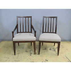 8 Thomasville Harlowe And Finch Axel Slat Back Arm Side Farmhouse Dining Chairs