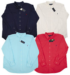 Polo Big Tall Men's Feather Weight Dress Shirts Navy White Blue Red