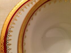 French Tableware Limonges Porcelain George Boyer 3917 Gold-Plated Edge Vajilla