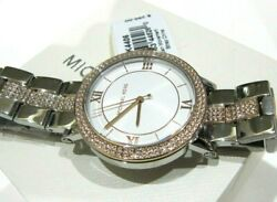 Michael Kors Norie Crystals Two Tone Silver amp; Gold Women#x27;s Watch MK4406 NWT$295 $95.99