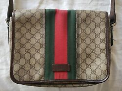 Gucci unisex Leather Messenger Crossbody Bag Dark Brown Red & Green Authentic $650.00