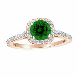 Halo Engagement Ring 14k Gold Created Emerald And Diamond