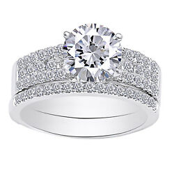 Solitaire W/accent Band Ring Set 14k Gold Moissanite And Real Diamond 2.08 Cttw