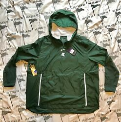 Nike Michigan State Alpha Fly On Field Player Sideline Pullover Jacket 3xl 120