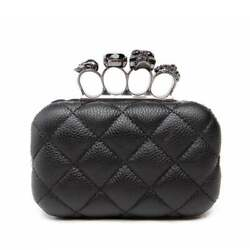 Vintage Skull Ring Evening Bag For Women Plaid Mini Black Party Clutches Purse $32.89