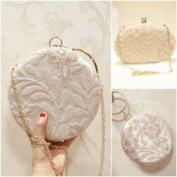 Floral Embroidery Decor Women Evening Bags Circular Lace Wedding Party Clutches $32.89
