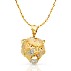 14k Yellow Gold Cz Tiger Charm Pendant And 1.8mm Singapore Chain Necklace