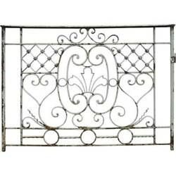 Antique French Beaux-arts Painted Wrought Iron Balcony 19th Century