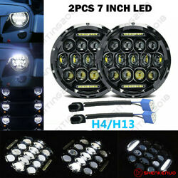 7inch Cree Round Halo Led Headlight High-lo Beam Drl Dd For Freightliner Century