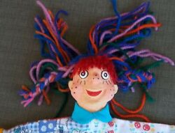 Freckle Face Paper Mache Puppet Pippi Longstocking 12 Inches Tall