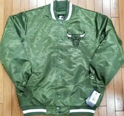 Authentic Olive Green Chicago Bulls Starter Brand Nba Tough Seasons Satin Jacket