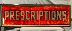 Vintage Advertising Prescriptions Reverse Painted Glass Sign Back Lite Shipping