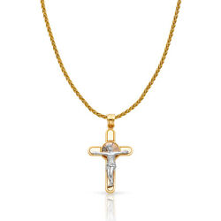 14k 3 Tone Gold Jesus Crucifix Cross Charm Pendant And 1.4mm Wheat Chain Necklace